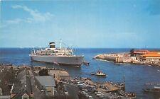 Curacao Netherland Antilles 1950s Postcard Harbor Entrance Cruise Ship
