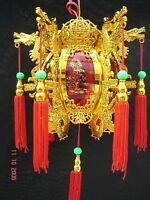RED GOLD L 17cm DRAGON PALACE LANTERN LIGHT CHINESE JAPANESE WEDDING PARTY A2