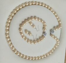 8mm AAA Champagne Shell Pearl necklace Bracelet Earring Set