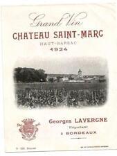 Etiquette Chateau Saint Marc 1924. Bel état.
