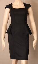 CUE Size 6 Black Fitted Peplum Pencil DRESS Cap Sleeves