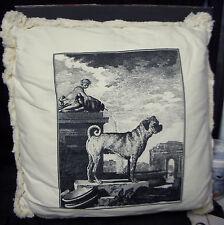Large Dog Pillow - Black Screened on Ivory Bull Mastiff? Greek Ruins Cherub