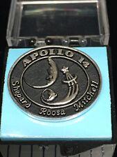 Apollo 14 Lunar Exploration Silver Plated Lapel Pin Black Fill