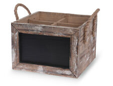 Chalkboard Wine Carrier with Rope Handles 4 Bottle Holder Box Crate