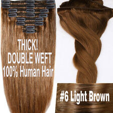 Real THICK 220g Clip In Remy Human Hair Extensions Full Head Double Weft US N125