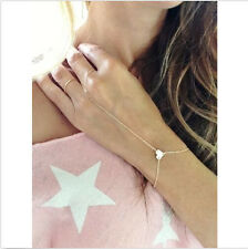 Classic New Gold Finger Ring Slave Heart pendant Hand Harness Chain Bracelet