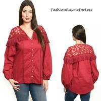 PLUS SIZE Western Rodeo Cowgirl Red Lace Tassel Fringe Poplin Shirt Top 1X 2X 3X