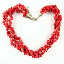 "Red Coral Chips Pendant Adjustable Necklace 17.5"" K96771"