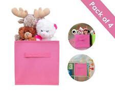 4 Folding Storage Boxes Canvas Pink Girls Nursery Kids Children Home Toys