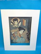 Antique Japanese Samurai Bushido Hand Colored Signed Unframed Wood Block Print
