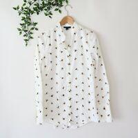 Victoria Beckham Target Women's Long Sleeve Honey Bee Print Button Front Top S