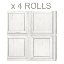 Off White Wood Effect Wallpaper Weathered Rustic Wooden Panel Realistic Grain x4