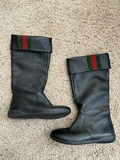 girls Gucci Fold Over Tall Boots US 11 EU 28 Black Leather Round Toe Suede