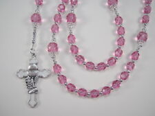 Girls 1st Communion Pink Rose Rosary Czech Glass Chica Primera Comunión Rosario