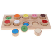 Wooden Montessori Touch and Match Board Kids Basic Skills Development Toy