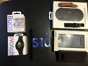 Samsung Galaxy S10+Plus Prism Blue/GSM Factory Unlocked/128GB/Clean IMEI Bundle!