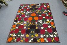 "ANTIQUE VINTAGE UZBEK SILK VELVET EMBROIDERY SUZANI 43"" X 56"" PANEL WALL DECOR"