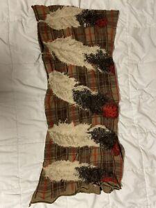 KAPITAL Feather Tartan Scarf Beige 100% Wool Muffler