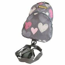 Emmzoe Little Walker Toddler Backpack w/ Detachable Leash - Gray Hearts