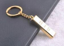 1 oz Fine Gold Bar Tone Key Ring Chain Alloy Keychain Keyfob