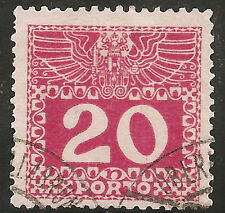 Austria Postage Due Stamp - Scott #J40/D3 20h Carmine Used/LH 1910-1913