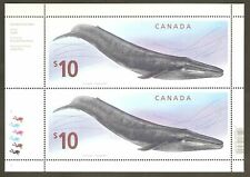 Canada 2010 #2405 Blue Whale $10 Face Large Size 2-stamp Plate Pane Wonderful !!