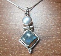 Cultured Pearl and Labradorite 925 Sterling Silver Pendant Corona Sun Jewelry