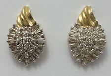 Beautiful 10K Karat Two Tone Gold Ladies Earrings with Cluster of Diamonds