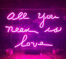 """New All You Need Is Love Purple Decor Beer Pub Acrylic Neon Light Sign 20"""" Glass"""