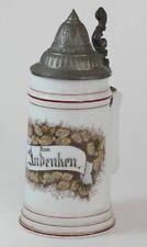 Tankard Boccale da birra in ceramica Zum Andenken con disegni floreali del 1900