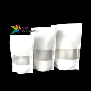 Window Matt White Stand Up Doy Pouch, Zip Lock Food Safe Mylar Foil Bag(100 pcs)