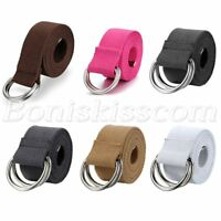 Men's Women's Adjustable Double D Ring Buckle Waist Belt Canvas Stripe Waistband