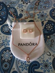 Authentic Pandora Rose Timeless Elegance Gift Set Necklace Earrings