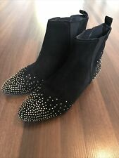 Ladies Boden Black Suede Gold Studded Ankle Boots Size 37 UK 4