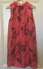 Made In Italy Dress Size 14-16  Womens Silk Coral Pink print  Sleeveless