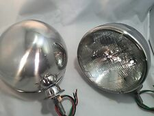 "Pair Dietz 7"" Stainless HeadLight Lamp Buckets Assembly Sealed Beam Halogen"