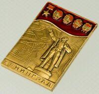 Lenin Leningrad USSR Badge Soviet Pin Brass Enamel