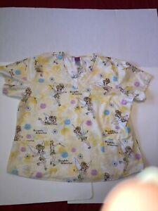 Disney Women's Scrub Top Sz.XL Tinker Bell Fairy Flowers Tinker Bell Yellow Cute