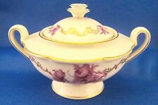 Royal Tettau Konigl pr Tettau Covered Sugar Bowl  - Purple Flowers - Germany
