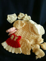 LOT OF HAND CROCHETED (7) DOLL HATS, BLANKET, DRESS AND BOOTIES
