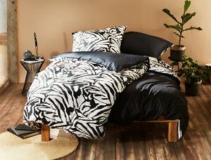 Moderne Mako Satin Wende Bettwäsche Zebra schwarz weiß 100% Baumwolle