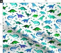 Watercolor Dinosaur Dinos Painted Animals Le Fabric Printed by Spoonflower BTY