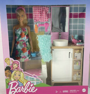 ✅ Barbie Doll, Bathroom Counter With Toilet & 11 Accessories- New -Free Shipping