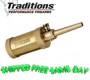 A1292 Traditions Solid Brass Black Powder Field Flask  2-1/2oz Capacity  New!