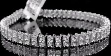 10k White Gold Finish 2 row .30ct Real Genuine Diamond Bracelet W/ S Spacers 8""
