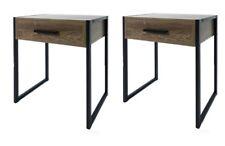 Set of 2 Industrial Side Drawer Bedside Table Cabinet Nightstand Bedroom Modern