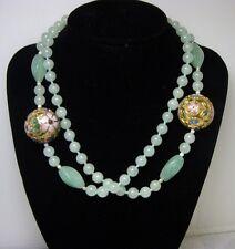 "Vintage 8mm Jade Jadeite & Enamel Cloisonne Bead Eternity Strand Necklace 32"""