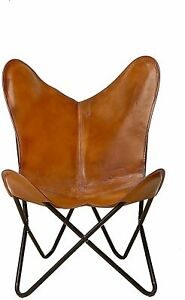 Leather Handmade Butterfly Chair Seat Folding Modern Sling Loung Vintage Stool