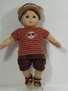 3pc Monkey Shirt Shorts Cap-Hat Doll Clothes For Bitty Baby Boy Twin (Debs*)
