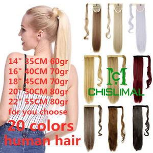 20color Human Hair Ponytail Remy Clip In Hair Extension Wrap Silky Straight Hair
